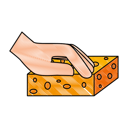 hand cleaning with sponge vector illustration design