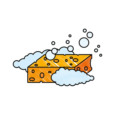 sponge with soap foam vector illustration design Иллюстрация