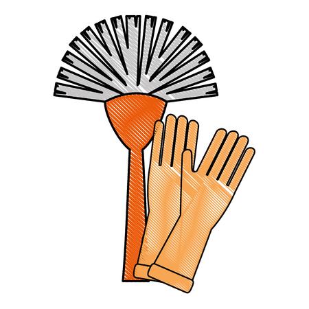 sanitary brush with gloves vector illustration design