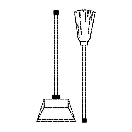 garbage picker with mop vector illustration design Vectores