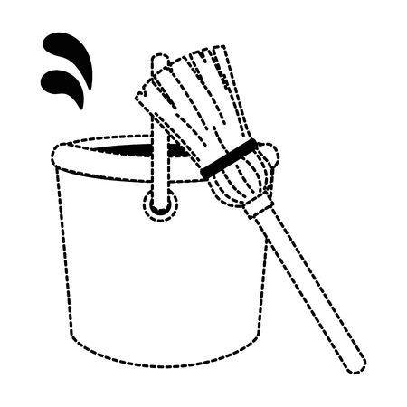 モップベクトルイラストデザインのプラスチックバケット  イラスト・ベクター素材