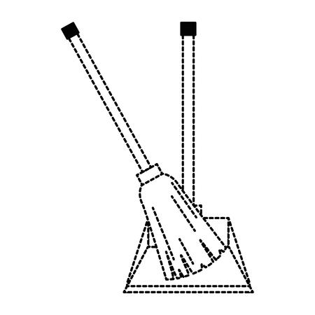 garbage picker with broom vector illustration design Vettoriali