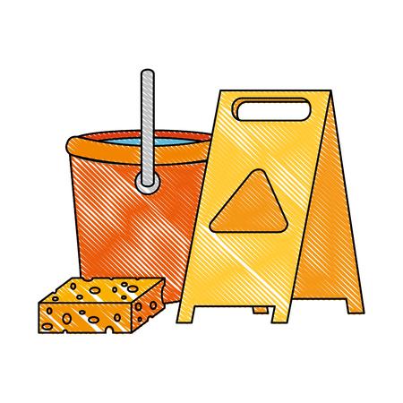 slippery floor sign with bucket and sponge vector illustration design Reklamní fotografie - 97266526