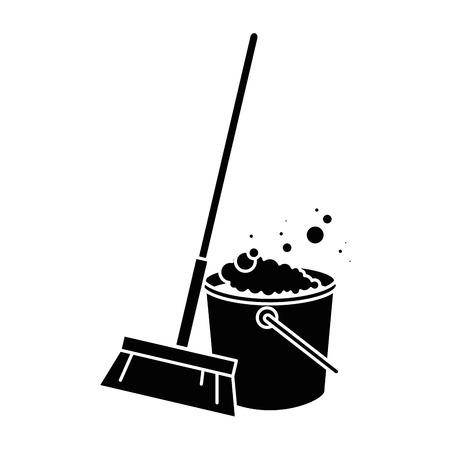 sweep broom with plastic bucket vector illustration design Foto de archivo - 97266651