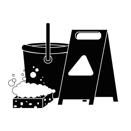 slippery floor sign with bucket and sponge vector illustration design