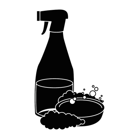 household cleaning product spray bottle with soap vector illustration design Stock fotó - 97266691