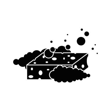 sponge with soap foam vector illustration design Иллюстрация