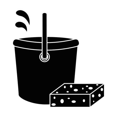 plastic bucket with sponge vector illustration design