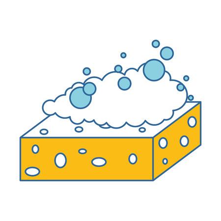 sponge with soap foam vector illustration design Banco de Imagens - 97266740