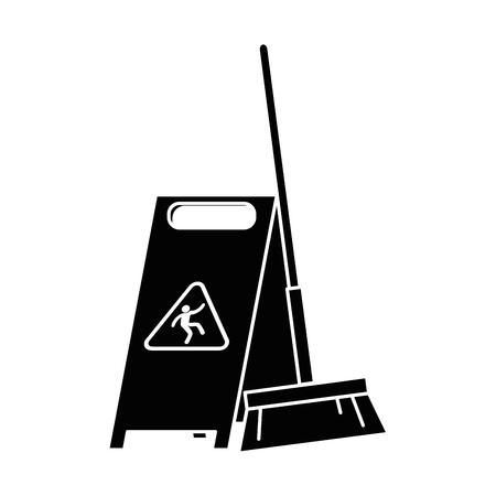 slippery floor sign with broom vector illustration design