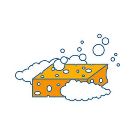 sponge with soap foam vector illustration design Ilustração