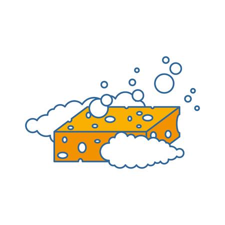 sponge with soap foam vector illustration design Illustration
