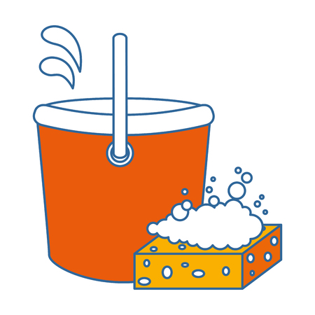 plastic bucket with sponge vector illustration design