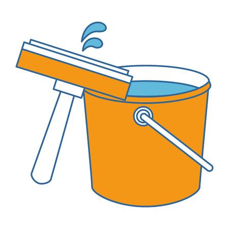window cleaner with plastic bucket vector illustration design