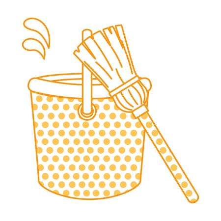 plastic bucket with mop vector illustration design
