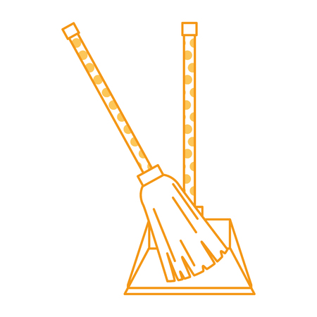 garbage picker with broom vector illustration design Illustration