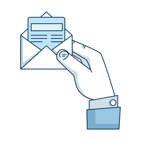 hand with envelope mail isolated icon vector illustration design Stock fotó - 97267113