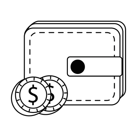wallet with coins money isolated icon vector illustration design