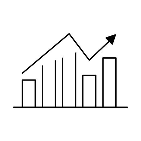 bars statistics with arrow vector illustration design Ilustração