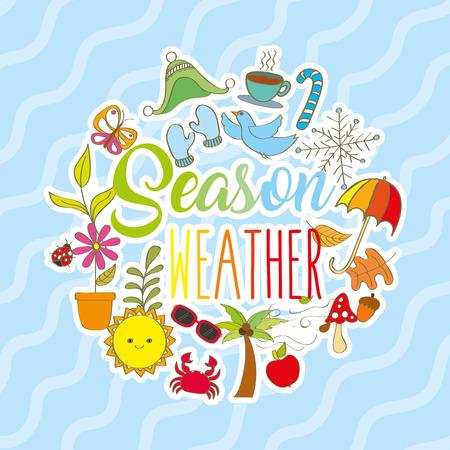 A season weather card summer autumn spring winter vector illustration