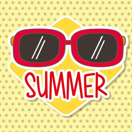 season summer sunglasses accessory dots background vector illustration Ilustrace