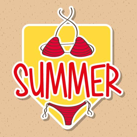 A seasonal weather summer swimsuit bikini female vector illustration Illustration
