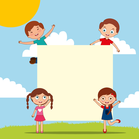 happy boys and girls with blank card kids playing cartoon vector illustration