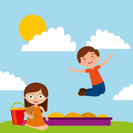 kids playing with sand bear toy in park cartoon vector illustration Illustration