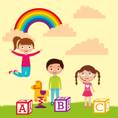 kids playing blocks alphabet wooden horse rainbow landscape vector illustration Stock Illustratie