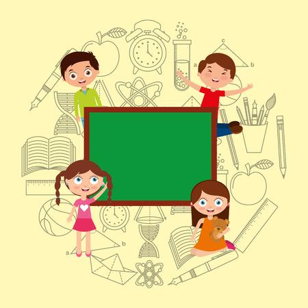 kids students cartoon chalkboard empty school image