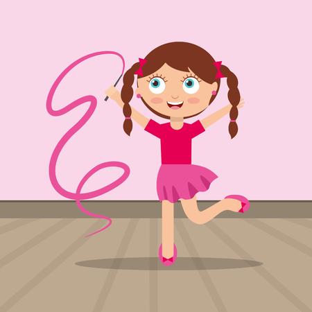 cute gymnastics girl with a tape kids cartoon vector illustration
