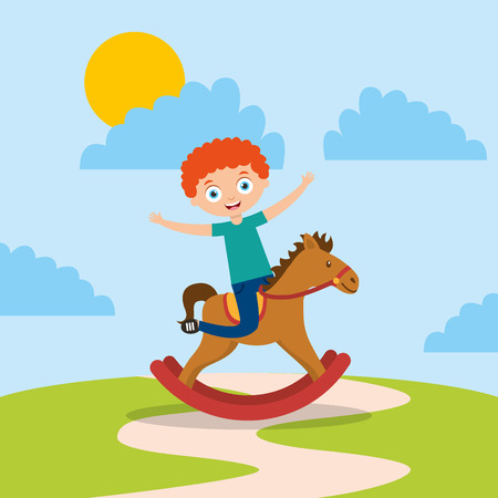 kid playing in wooden horse in the park cartoon vector illustration
