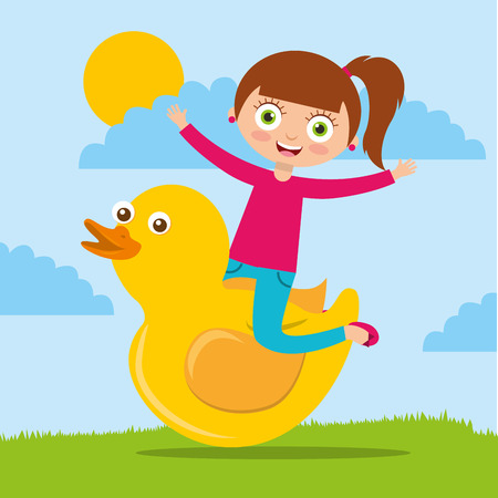 happy cute girl playing with rubber duck cartoon vector illustration Vettoriali