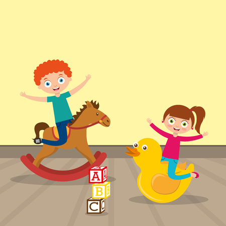 kids playing wooden horse and big duck cartoon vector illustration Çizim