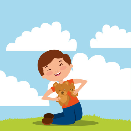 kid holding toy bear playing vector illustration