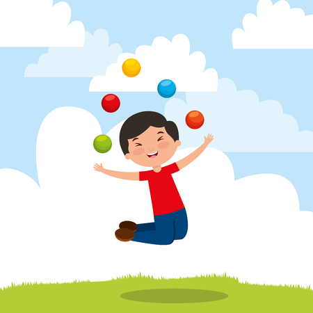 kid playing trick balls jumping happy cartoon vector illustration