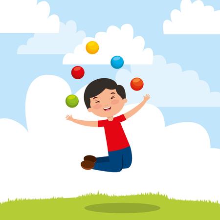 kid playing trick balls jumping happy cartoon vector illustration