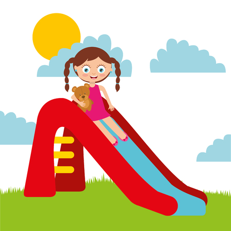 A cute girl playing in slide playground cartoon vector illustration