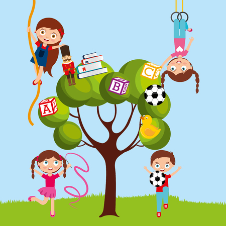 A kids playing cartoon in tree with ball blocks tape rope vector illustration Stock Illustratie