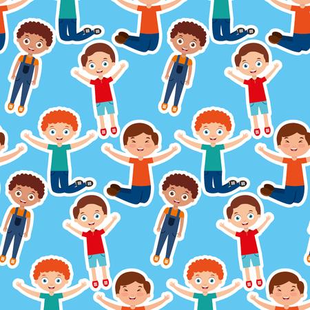kids boy happy playing cartoon pattern vector illustration Illustration