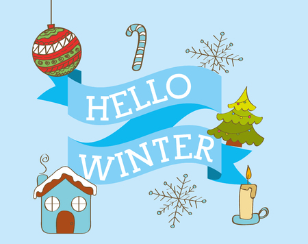 A hello winter season ball cane sweet tree and candle vector illustration