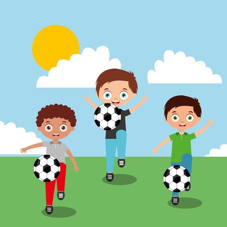 kinderen spelen met voetballen in veld cartoon vector illustratie Stock Illustratie