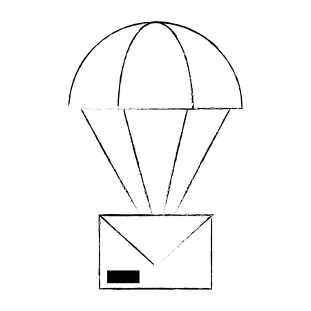 envelope mail with parachute vector illustration design