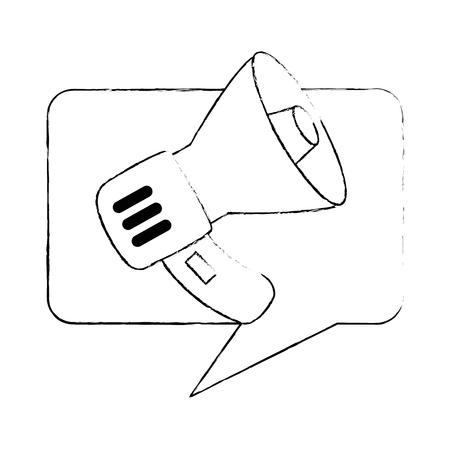 speech bubble with megaphone sound vector illustration design