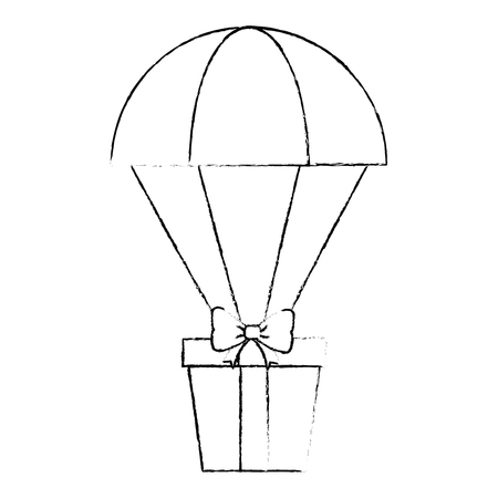 parachute with gift box present vector illustration design