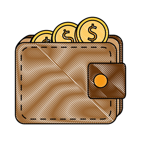 Wallet with coins isolated icon illustration design Ilustração