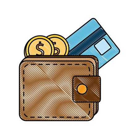 Wallet with credit card and coins illustration design