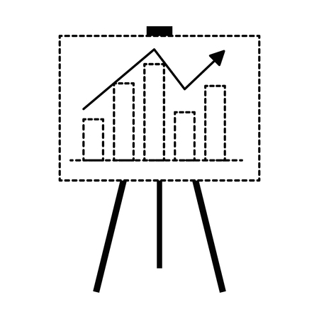 paperboard with bars statistics and arrow vector illustration design