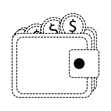 A wallet with coins isolated icon in broken lines style.