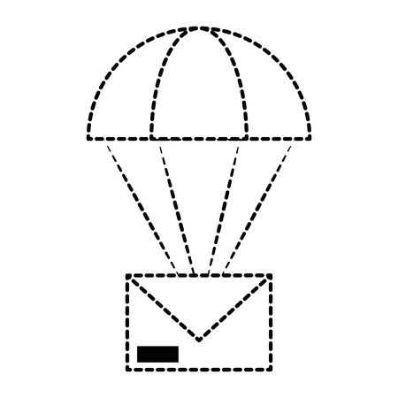 An envelope mail with parachute vector illustration design